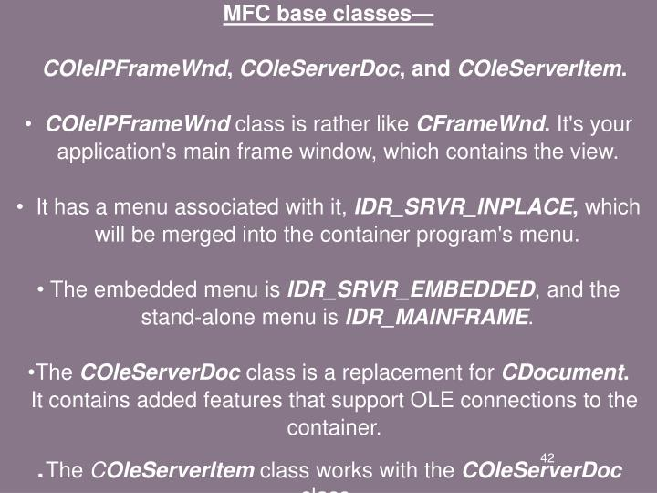 MFC base classes—
