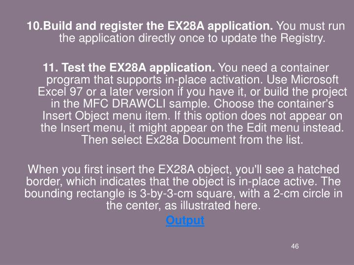 Build and register the EX28A application.