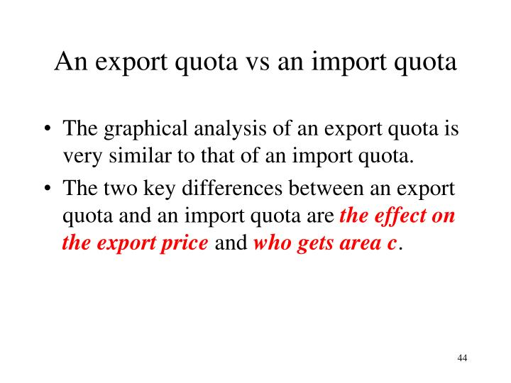 An export quota vs an import quota