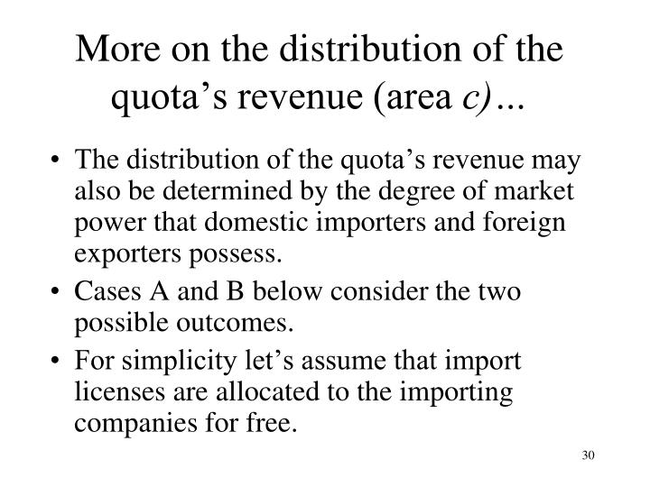 More on the distribution of the quota's revenue (area