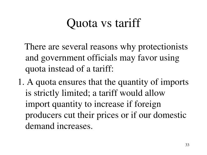 Quota vs tariff
