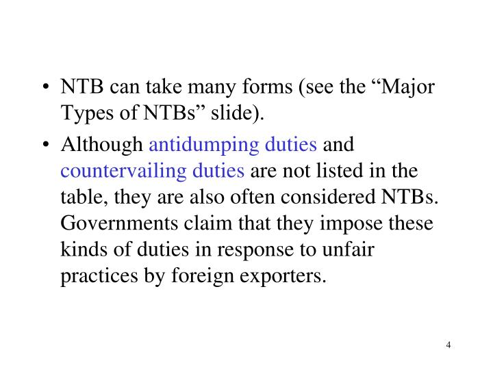 "NTB can take many forms (see the ""Major Types of NTBs"" slide)."