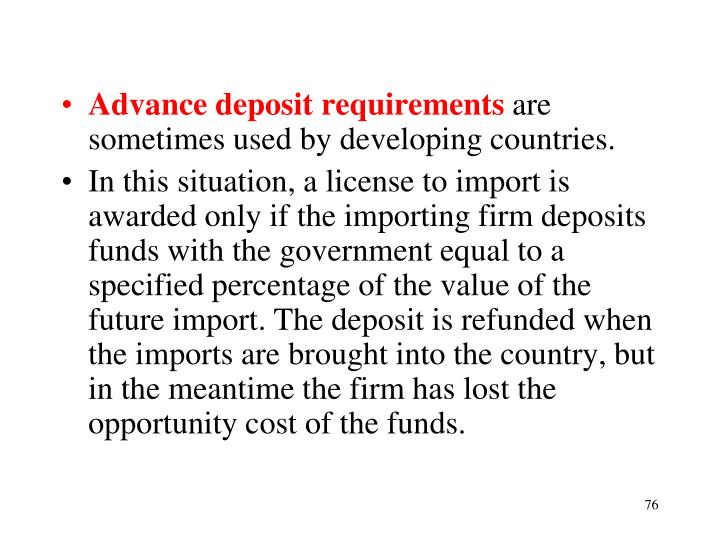 Advance deposit requirements