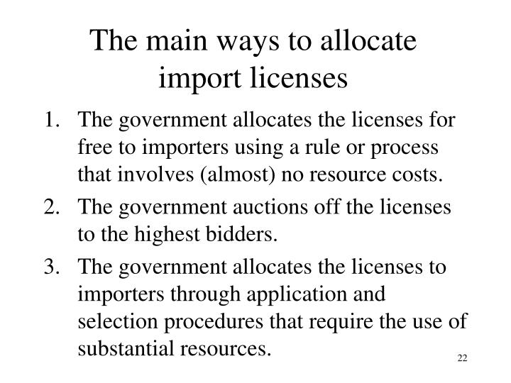 The main ways to allocate
