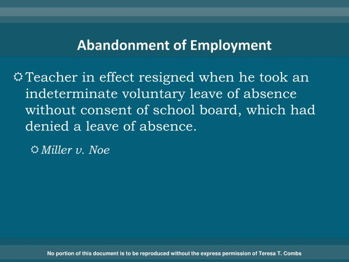Abandonment of Employment