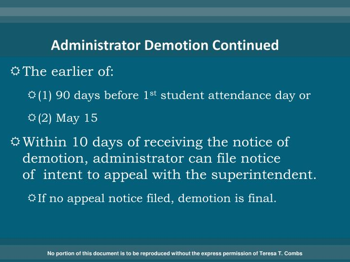 Administrator Demotion Continued