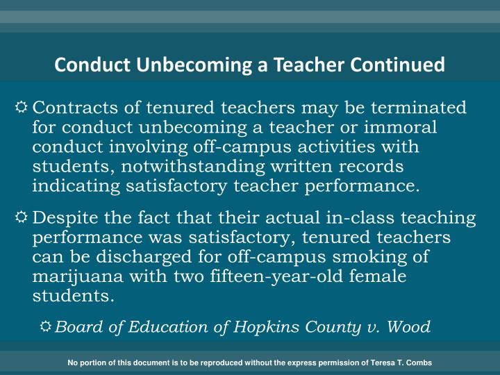 Conduct Unbecoming a Teacher Continued
