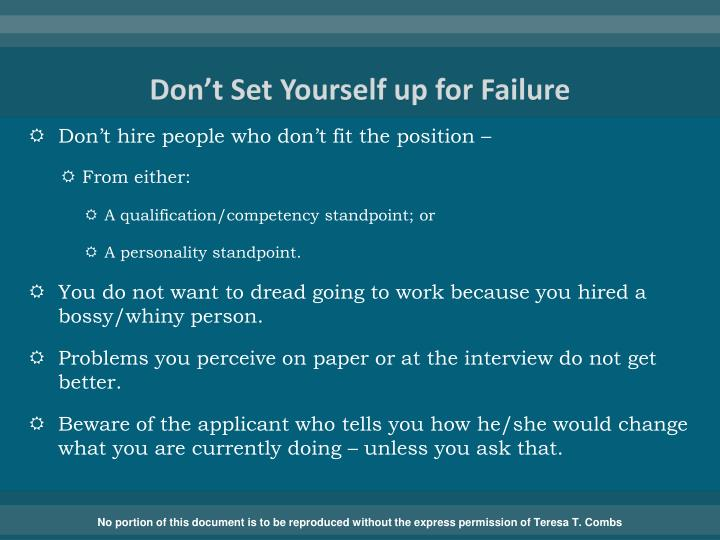 Don't Set Yourself up for Failure