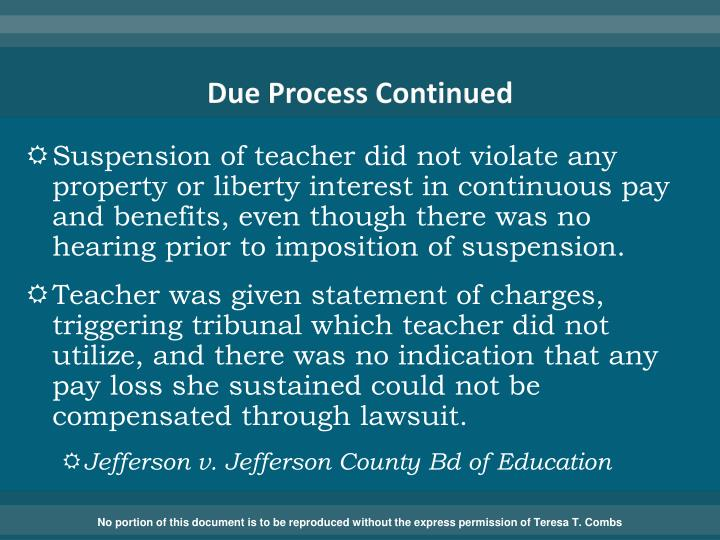 Due Process Continued
