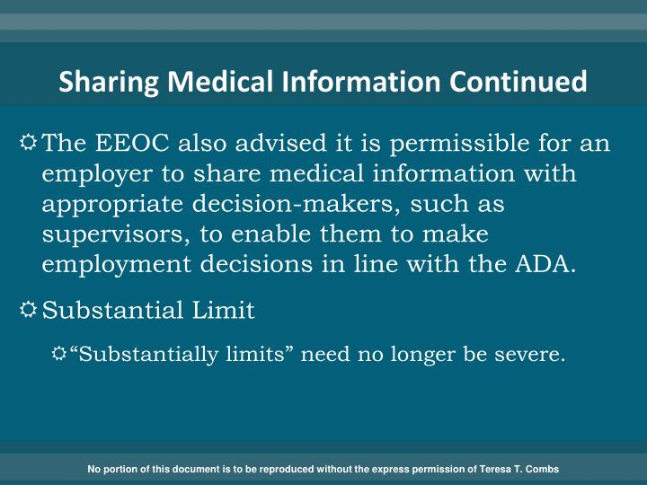 Sharing Medical Information Continued