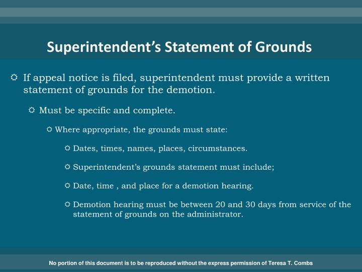 Superintendent's Statement of Grounds