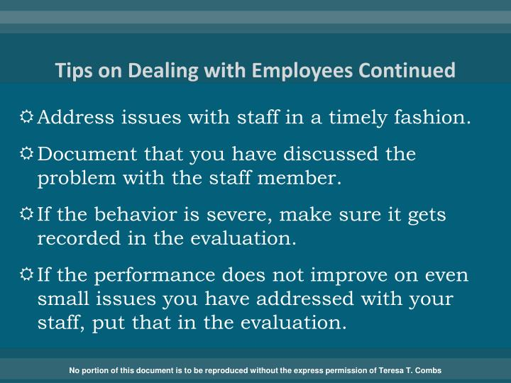 Tips on Dealing with Employees Continued