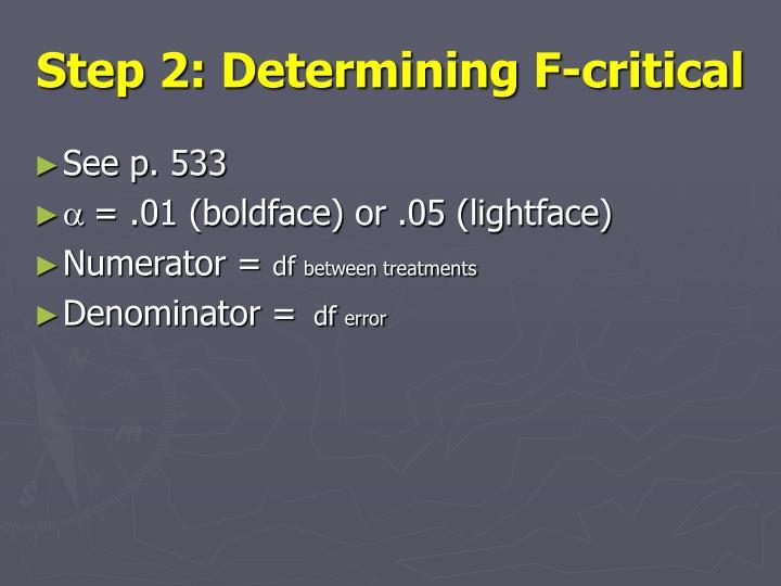 Step 2: Determining F-critical