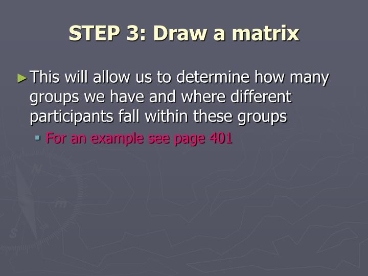 STEP 3: Draw a matrix