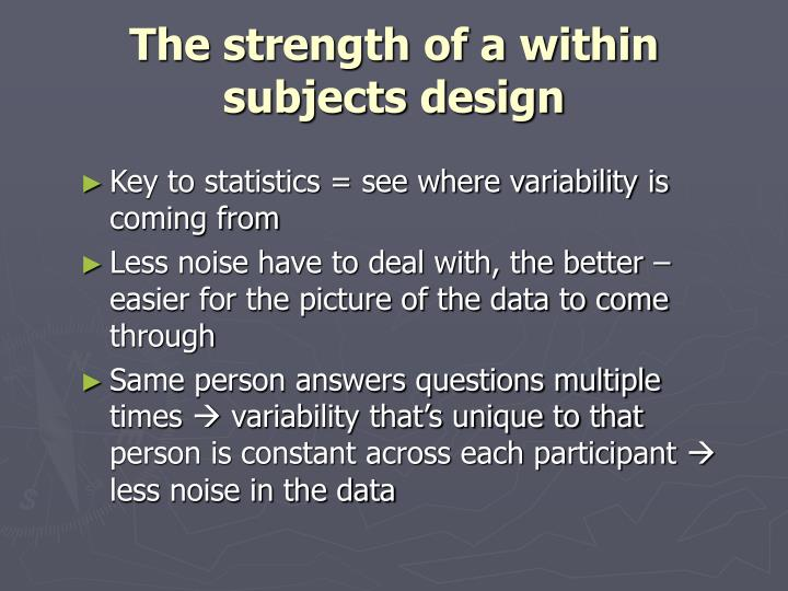 The strength of a within subjects design