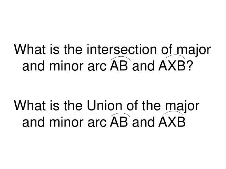 What is the intersection of major and minor arc AB and AXB?