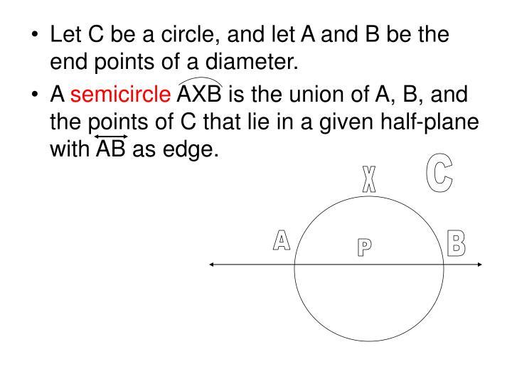 Let C be a circle, and let A and B be the end points of a diameter.