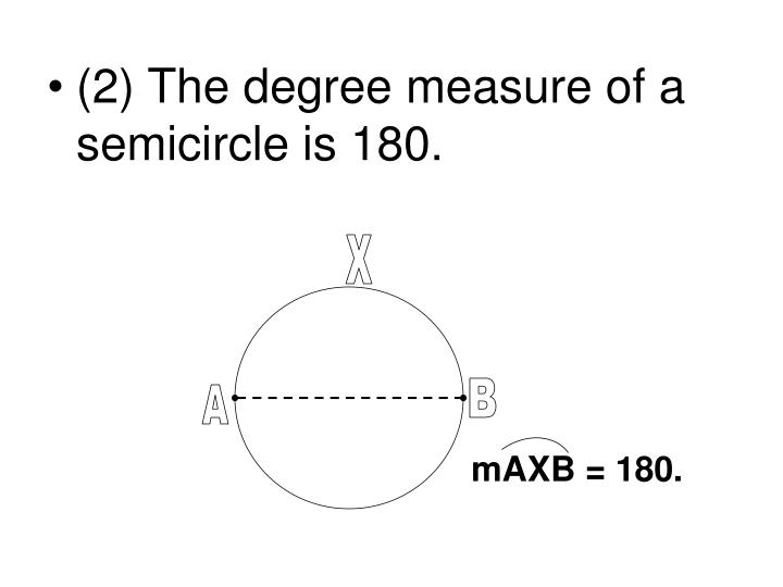 (2) The degree measure of a semicircle is 180.