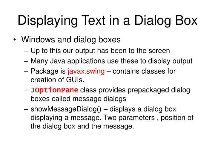 Displaying text in a dialog box