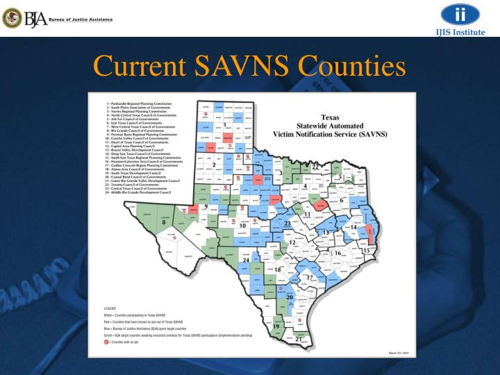 Current SAVNS Counties