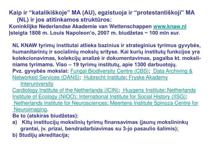 """Kaip ir """"katalikiškoje"""" MA (AU), egzistuoja ir """"protestantiškoji"""" MA (NL) ir jos atitinkamos struktūros:"""