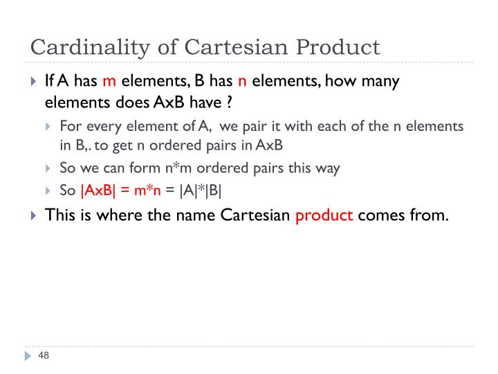 Cardinality of Cartesian Product