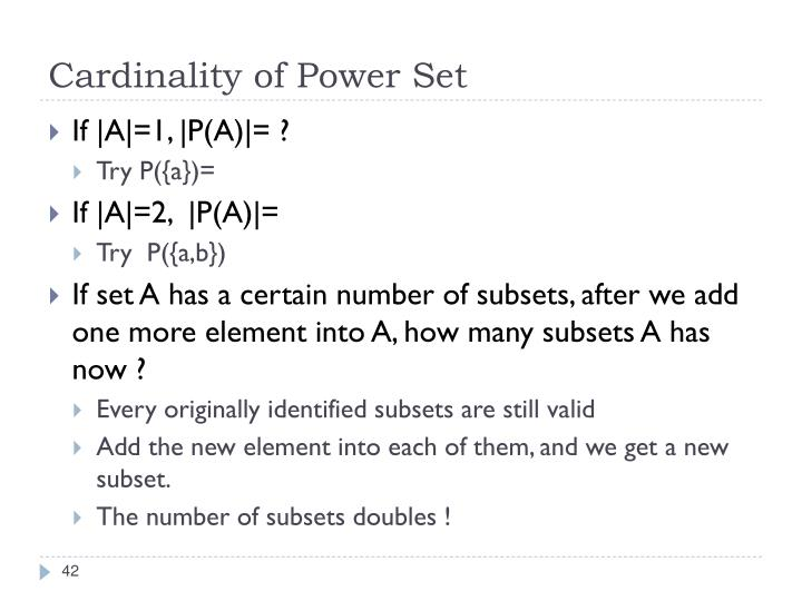 Cardinality of Power Set