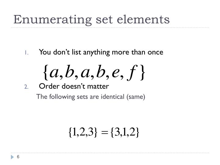 Enumerating set elements