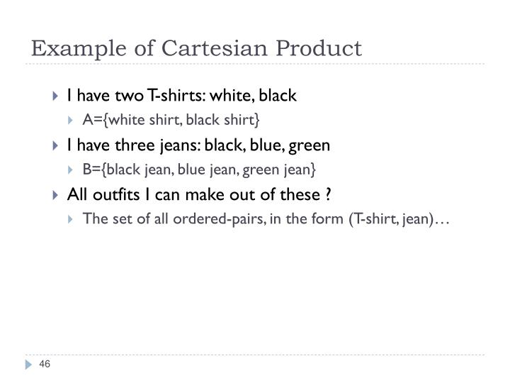 Example of Cartesian Product