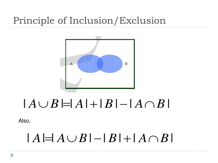 Principle of Inclusion/Exclusion