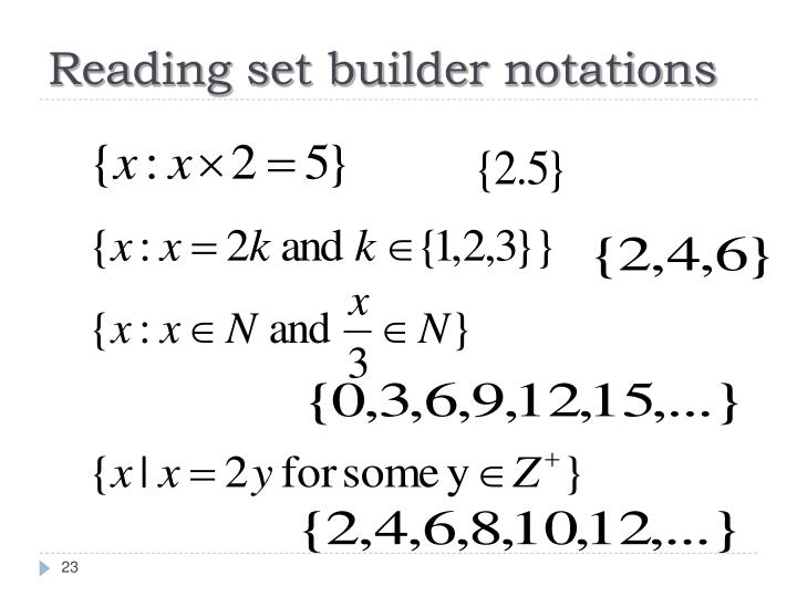 Reading set builder notations