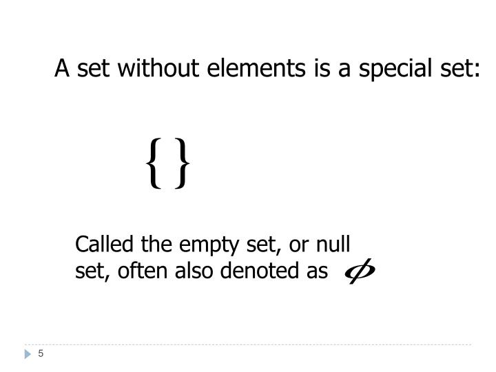 A set without elements is a special set: