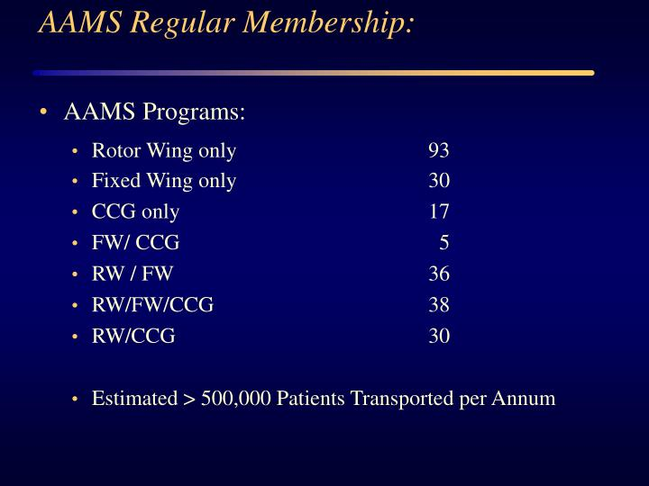 AAMS Regular Membership: