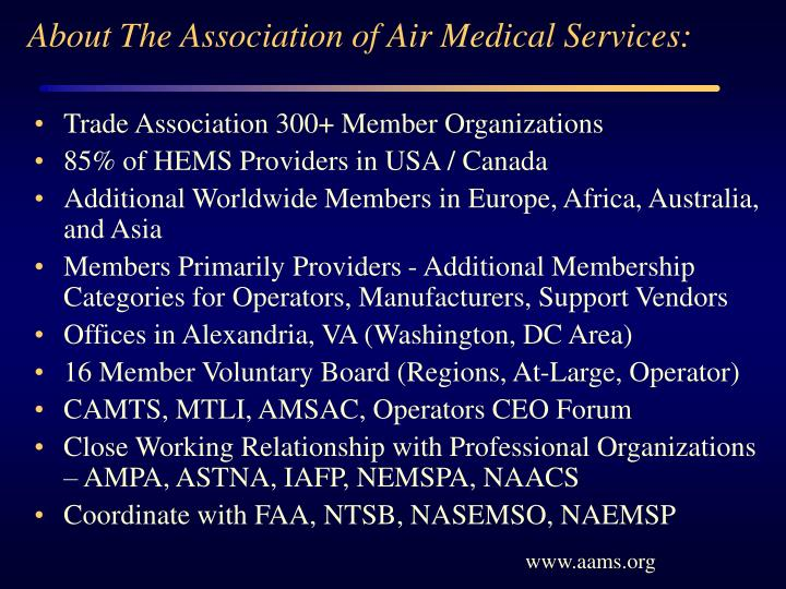 About The Association of Air Medical Services: