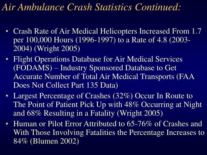 Air Ambulance Crash Statistics Continued:
