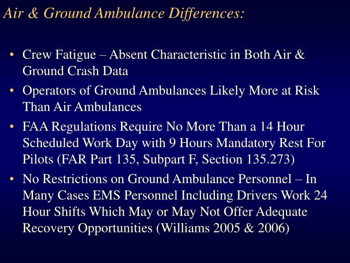 Air & Ground Ambulance Differences: