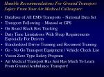 humble recommendations for ground transport safety from your air medical colleagues