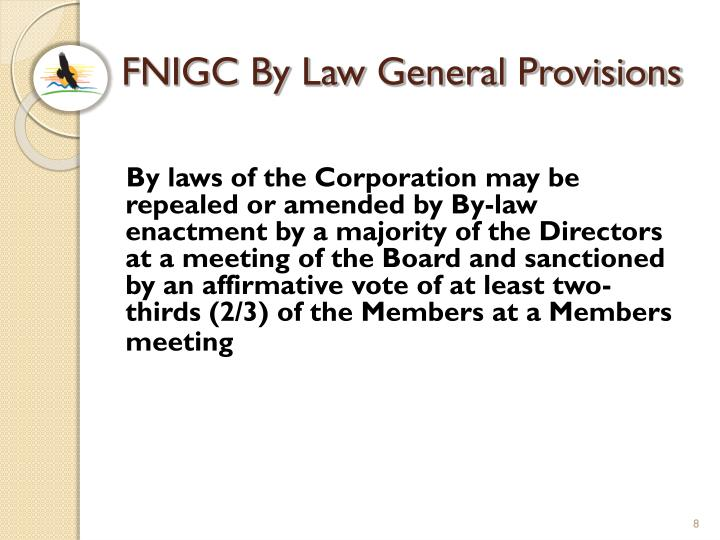 FNIGC By Law General Provisions