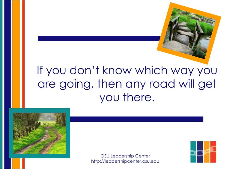 If you don't know which way you are going, then any road will get you there.