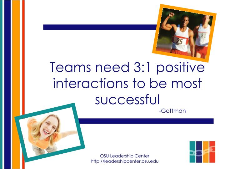 Teams need 3:1 positive interactions to be most successful