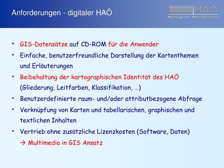Anforderungen - digitaler HAÖ