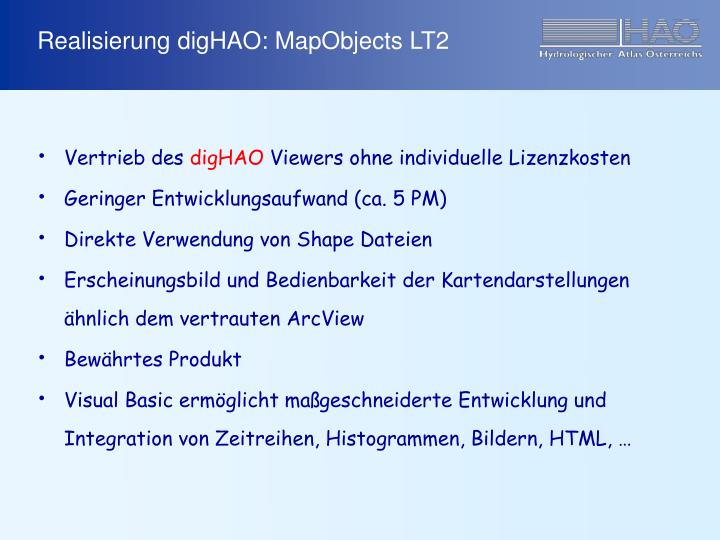 Realisierung digHAO: MapObjects LT2
