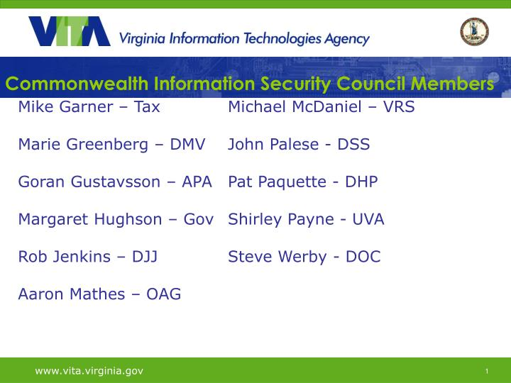 Commonwealth Information Security Council Members
