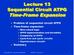lecture 13 sequential circuit atpg time frame expansion