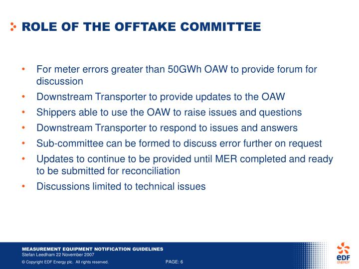 ROLE OF THE OFFTAKE COMMITTEE