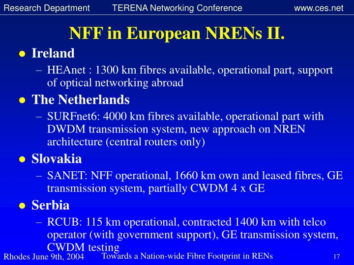 NFF in European NRENs II.