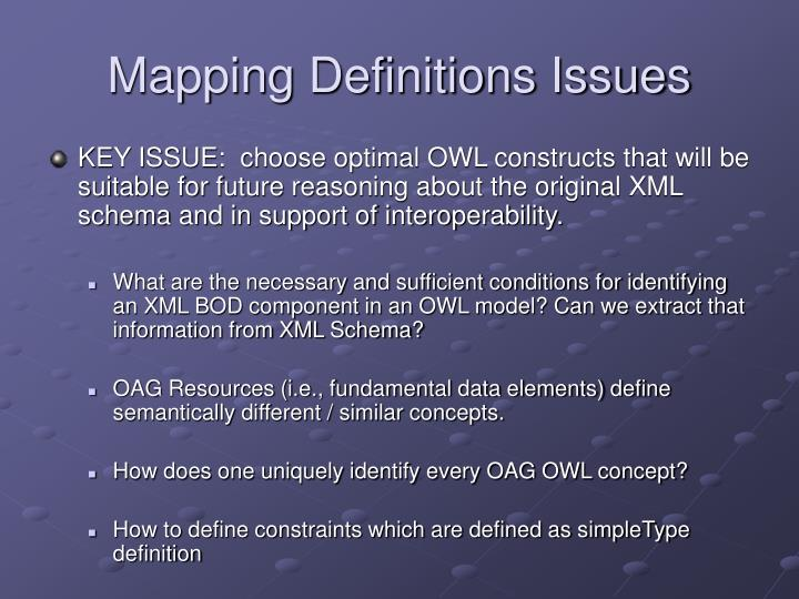 Mapping Definitions Issues