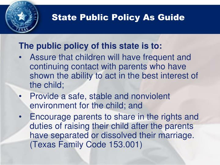 State Public Policy As Guide
