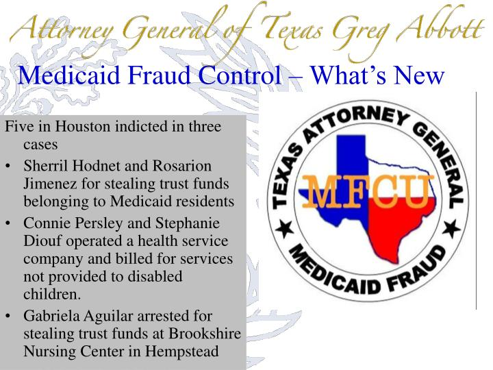 Medicaid Fraud Control – What's New