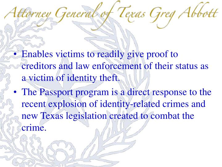 Enables victims to readily give proof to creditors and law enforcement of their status as a victim of identity theft.